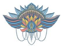 Ethnisches Symbol Lotus-Blume T?towierungsentwurfsmotiv, Dekorationselement Asiatische Geistigkeit, Nirwana und Unschuld des Zeic stockbild