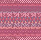 Ethnisches Textildekoratives gebürtiges dekoratives gestreiftes nahtloses Muster im Vektor Farbendloser Hintergrund Stockfotos