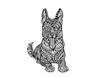 Ethnisches Tier- Gekritzel-Detail-Muster - Deutscher Sheppard-Hund-Zentangle-Illustration Stockfotografie