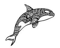 Ethnisches Tiergekritzel-Detail-Muster - Killerwal Zentangle-Illustration Stockfotografie
