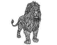 Ethnisches Tiergekritzel-Detail-Muster - Lion Zentangle Illustration Lizenzfreie Stockbilder