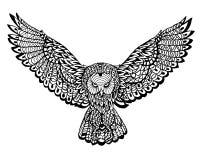 Ethnisches Tiergekritzel-Detail-Muster - Owl Lion Zentangle Illustration Lizenzfreie Stockbilder