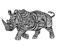 Ethnisches Tiergekritzel-Detail-Muster - Owl Rhinoceros Zentangle Illustration Lizenzfreies Stockfoto