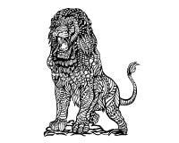 Ethnisches Tiergekritzel-Detail-Muster - verärgerter Lion Zentangle Illustration Stockbild