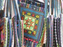 Ethno与色的刺绣的织品袋子 免版税库存照片