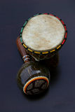 Ethno. African ethno instruments - little bongo and shaker stock photo