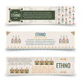 Ethno banners template with boho ornaments. Ethno banners template - banners with boho ornaments design. Vector illustration Royalty Free Stock Photo
