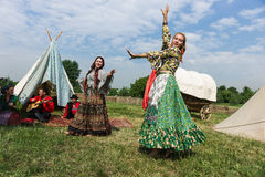 Ethno艺术小组Borodinsky吉普赛人,莫斯科 免版税库存图片