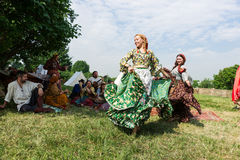 Ethno艺术小组Borodinsky吉普赛人,莫斯科 免版税图库摄影
