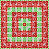Ethno canvas pattern of shape ribbons in red and green. Ethno canvas pattern of shape ribbons Stock Photography