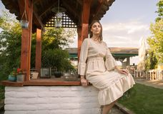 Ethno clothes Serbia, Eastern European dress, outdoors, one yo Stock Photography