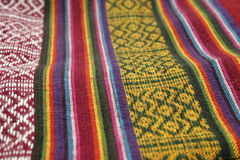 Ethno fabric 3. Close-up of a colorful ethno pattern fabric with a shallow DOF royalty free stock images
