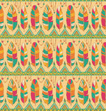 Ethno feather pattern background. Seamless feather pattern background. Endless colorful texture Royalty Free Stock Photo