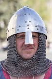 Ethno-fest : traditions - emotions - life. Knight in chain armours lived in Kyivan Rus, historical reconstruction of ancient Kiev, Royalty Free Stock Photo