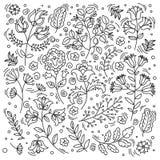 ETHNO FLOWER Decorative Folk Oriental Color Vector Illustration Set vector illustration