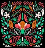 Ethno folk decorative floral ornament. Symmetry specular composition. Drawing abstract ornament stock illustration