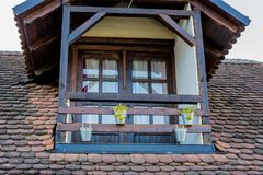 Ethno house upper floor. Balcony royalty free stock images