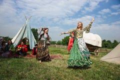 Ethno-Kunstgruppe Borodinsky-Zigeuner, Moskau Stockbilder