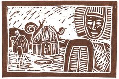 Ethno linocut with giant snails. Can serve as an advertisment for snail food Royalty Free Stock Photography