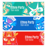 Ethno party flyers with masks. Ethno party flyers banners with masks, vector set Royalty Free Stock Photos