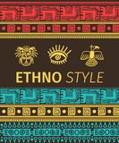 Ethno banner with tribal symbols. Ethno style vector banner with tribal boders and symbols Stock Images