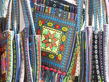Ethno tkaniny torba z barwioną broderią Zdjęcia Royalty Free