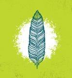 Ethno Tribal Feather Creative Vector Illustration On Rough Background. Stylish Handmade Design Element.  Royalty Free Stock Images