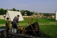 Ethnographic festival, imitation of the settlement of Kievan Rus of the 15th century stock image
