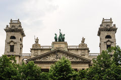 Ethnographic Museum Apex. Apex, towers, metope panel and The Spirit of Enlightenment sculptural composition on top of the Ethnographic Museum in Budapest Stock Images