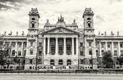 Ethnographic museum building and old tramway, Budapest, colorles Royalty Free Stock Photo