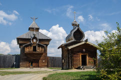 Ethnographic Museum Taltsy. The building of the old fort of Ust-Ilimsk. royalty free stock images
