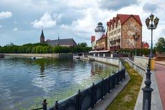 Ethnographic och handelmitt Kaliningrad arkivfoto