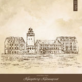 Ethnographic trade center, embankment of the Fishing Village, Kaliningrad Russia, hand drawn engraving vector Stock Photography