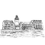 Ethnographic and trade center, embankment of the Fishing Village, Kaliningrad Russia, hand drawn vector sketch Royalty Free Stock Images