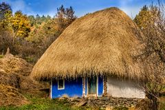 Ethnography. Vilage the old house in the romania museum Stock Image