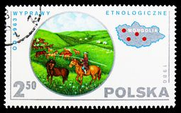 Ethnology, Mongolia, Polish Scientific Expedition serie, circa 1980. MOSCOW, RUSSIA - SEPTEMBER 15, 2018: A stamp printed in Poland shows Ethnology, Mongolia stock photo