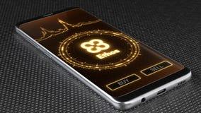 Ethos cryptocurrency symbol on mobile app screen. 3D illustration stock illustration