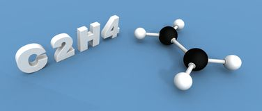 Ethylene molecule Royalty Free Stock Image