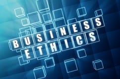 Etiche imprenditoriali in blocchi di vetro blu Immagini Stock