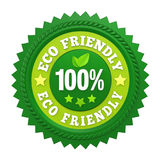 Etichetta amichevole 100% del distintivo di Eco isolata Fotografia Stock