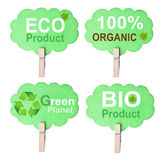 Etichetta amichevole di Eco, isolata su fondo bianco Fotografia Stock