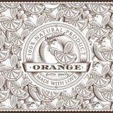 Etichetta arancio d'annata sul modello senza cuciture Immagine Stock