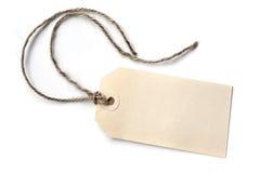 Etichetta in bianco con corda isolata Fotografia Stock