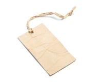 Etichetta in bianco legata con corda su bianco Immagini Stock Libere da Diritti