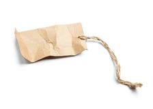 Etichetta in bianco legata con corda su bianco Fotografie Stock Libere da Diritti