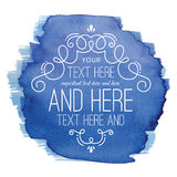 Etichetta blu di Flourish dell'acquerello Fotografie Stock Libere da Diritti