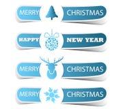 Etichetta blu di Natale con i cervi e un fiocco di neve Fotografia Stock