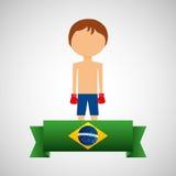Etichetta brasiliana del giocatore di pugilato del fumetto Immagini Stock Libere da Diritti