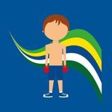 Etichetta brasiliana del giocatore di pugilato del fumetto Fotografia Stock