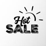 Etichetta calda del nero di vendita con struttura di lerciume su fondo di semitono Illustrazione di Stock